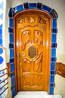 Spain, Barcelona. Casa Batlló is one of Antoni Gaudí's masterpieces. Door