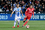 CD Leganes's Ruben Perez and Real Madrid's Federico Valverde during La Liga match between CD Leganes and Real Madrid at Butarque Stadium in Leganes, Spain. April 15, 2019. (ALTERPHOTOS/A. Perez Meca)