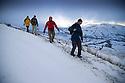 29/12/14<br /> <br /> Walks struggle along slippery path along Rushup Edge near Castleton in the Derbyshire Peak District.<br /> <br /> <br /> All Rights Reserved - F Stop Press. www.fstoppress.com. Tel: +44 (0)1335 300098