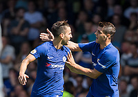Goalscorers Cesc Fabregas of Chelsea & Alvaro Morata of Chelsea celebrate the first goal during the Premier League match between Chelsea and Everton at Stamford Bridge, London, England on 27 August 2017. Photo by Andy Rowland.