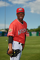Batavia Muckdogs Edison Suriel (1) poses for a photo before a NY-Penn League game against the West Virginia Black Bears on June 26, 2019 at Dwyer Stadium in Batavia, New York.  Batavia defeated West Virginia 4-2.  (Mike Janes/Four Seam Images)