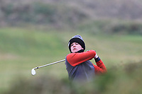 Keaton Morrison (Greenacres) on the 12th during Round 2 of the Ulster Boys Championship at Portrush Golf Club, Portrush, Co. Antrim on the Valley course on Wednesday 31st Oct 2018.<br /> Picture:  Thos Caffrey / www.golffile.ie<br /> <br /> All photo usage must carry mandatory copyright credit (&copy; Golffile | Thos Caffrey)