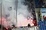 15.04.2018, Wirsol Rhein-Neckar-Arena, Sinsheim, GER, 1.FBL, TSG 1899 Hoffenheim vs Hamburger SV, im Bild<br />Bengalische Feuer im Hamburger Fanblock<br /> Foto &copy; nordphoto / Bratic