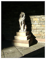 NEW YORK, NY - NOVEMBER 8: Lion staute at St Marks church in the East Village in New York, New York on November 8, 2009. Photo Credit: Thomas R Pryor