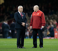 Wales' Head Coach Warren Gatland with kicking coach Neil Jenkins<br /> <br /> Photographer Simon King/CameraSport<br /> <br /> International Rugby Union - 2017 Under Armour Series Autumn Internationals - Wales v Australia - Saturday 11th November 2017 - Principality Stadium - Cardiff<br /> <br /> World Copyright &copy; 2017 CameraSport. All rights reserved. 43 Linden Ave. Countesthorpe. Leicester. England. LE8 5PG - Tel: +44 (0) 116 277 4147 - admin@camerasport.com - www.camerasport.com