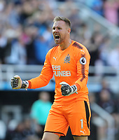 Newcastle United's Robert Elliot celebrates after his side's second goal<br /> <br /> Photographer Rob Newell/CameraSport<br /> <br /> The Premier League - Newcastle United v West Ham United - Saturday 26th August 2017 - St James' Park - Newcastle<br /> <br /> World Copyright &copy; 2017 CameraSport. All rights reserved. 43 Linden Ave. Countesthorpe. Leicester. England. LE8 5PG - Tel: +44 (0) 116 277 4147 - admin@camerasport.com - www.camerasport.com