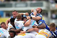 Kieran Brookes of Wasps and Tom Dunn of Bath Rugby in action at a scrum. Gallagher Premiership match, between Bath Rugby and Wasps on May 5, 2019 at the Recreation Ground in Bath, England. Photo by: Patrick Khachfe / Onside Images