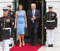 U.S. President Donald J. Trump and First Lady Melania Trump await the arrival of President Juan Carlos Varela and his wife Lorena Castillo Garc&Igrave;a de Varela of Panama to The White House in Washington, DC, June 19, 2017. Credit: Chris Kleponis / CNP<br /> Credit: Chris Kleponis / CNP /MediaPunch