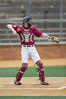 Harvard Crimson catcher Josh Ellis (9) throws the ball back to his pitcher during the game against the Wake Forest Demon Deacons at David F. Couch Ballpark on March 5, 2016 in Winston-Salem, North Carolina.  The Crimson defeated the Demon Deacons 6-3.  (Brian Westerholt/Four Seam Images)