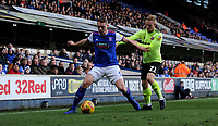 Ipswich Town's Matthew Pennington battles with Sheffield United's Mark Duffy<br /> <br /> Photographer Hannah Fountain/CameraSport<br /> <br /> The EFL Sky Bet Championship - Ipswich Town v Sheffield United - Saturday 22nd December 2018 - Portman Road - Ipswich<br /> <br /> World Copyright © 2018 CameraSport. All rights reserved. 43 Linden Ave. Countesthorpe. Leicester. England. LE8 5PG - Tel: +44 (0) 116 277 4147 - admin@camerasport.com - www.camerasport.com