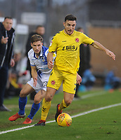 Fleetwood Town's Lewie Coyle under pressure from Bristol Rovers' Gavin Reilly<br /> <br /> Photographer Kevin Barnes/CameraSport<br /> <br /> The EFL Sky Bet League One - Bristol Rovers v Fleetwood Town - Saturday 22nd December 2018 - Memorial Stadium - Bristol<br /> <br /> World Copyright &copy; 2018 CameraSport. All rights reserved. 43 Linden Ave. Countesthorpe. Leicester. England. LE8 5PG - Tel: +44 (0) 116 277 4147 - admin@camerasport.com - www.camerasport.com