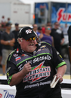 May 11, 2013; Commerce, GA, USA: NHRA crew member for pro stock driver Mike Edwards during the Southern Nationals at Atlanta Dragway. Mandatory Credit: Mark J. Rebilas-