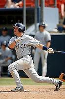 Jordan Dodson of the Rice Owls during a game against the Cal State Fullerton Titans at Goodwin Field on March 4, 2007 in Fullerton, California. (Larry Goren/Four Seam Images)