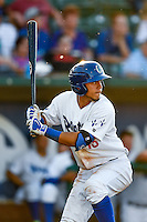 Gersel Pitre (13) of the Ogden Raptors at bat against the Grand Junction Rockies in Pioneer League action at Lindquist Field on June 20, 2016 in Ogden, Utah. The Rockies defeated the Raptors 5-2. (Stephen Smith/Four Seam Images)