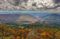 The Talimena Scenic Drive in the fall, which runs from Mena AR to Talihina Ok.  The road travels within the Ouachita National Forest along the highest peaks of the Winding Stair Mountains, part of the Ouachita Mountain chain.