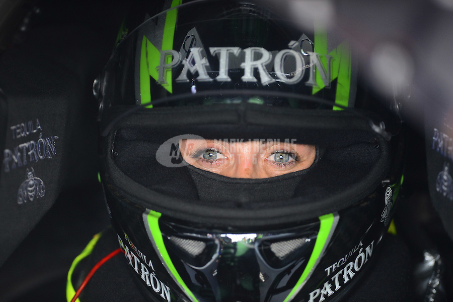 Apr. 27, 2012; Baytown, TX, USA: NHRA funny car driver Alexis DeJoria during qualifying for the Spring Nationals at Royal Purple Raceway. Mandatory Credit: Mark J. Rebilas-