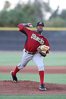 Touki Toussaint #23 of the AZL Diamondbacks pitches against the AZL Padres at the Peoria Sports Complex on July 7, 2014 in Peoria, Arizona. (Larry Goren/Four Seam Images)