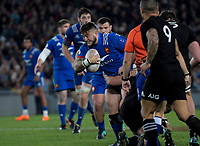 France's Cyril Baille is tackled during the Steinlager Series international rugby match between the New Zealand All Blacks and France at Eden Park in Auckland, New Zealand on Saturday, 9 June 2018. Photo: Dave Lintott / lintottphoto.co.nz