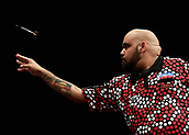 10th January 2018, Brisbane Royal International Convention Centre, Brisbane, Australia; Pro Darts Showdown Series; Kyle Anderson (AUS) in action during his match against Tahuna Irwin (NZ)