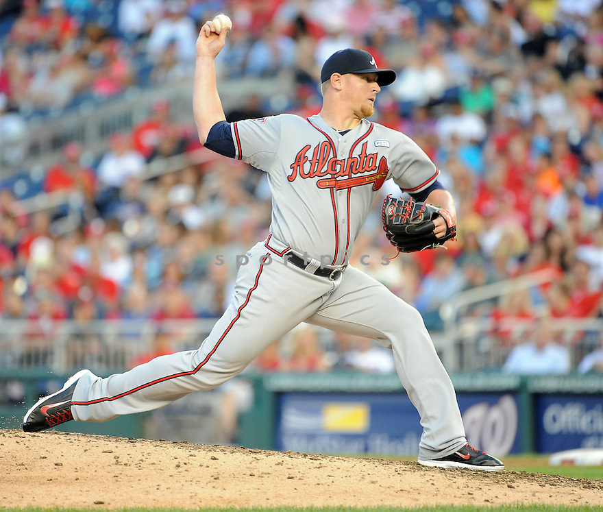 Atlanta Braves David Carpenter (48) during a game against the Washington Nationals on September 10, 2014 at Nationals Park in Washington DC. The Braves beat the Nationals 6-2.