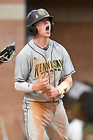 Second baseman Grant Williams (11) of the Kennesaw State Owls shouts as he scores a run in a game against the University of South Carolina Upstate Spartans on Thursday, March 29, 2018, at Cleveland S. Harley Park in Spartanburg, South Carolina. (Tom Priddy/Four Seam Images)
