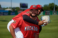 Batavia Muckdogs pitchers Bryce Howe (50) and Jeremy Ovalle (19) during photo day before a NY-Penn League game against the West Virginia Black Bears on June 26, 2019 at Dwyer Stadium in Batavia, New York.  Batavia defeated West Virginia 4-2.  (Mike Janes/Four Seam Images)