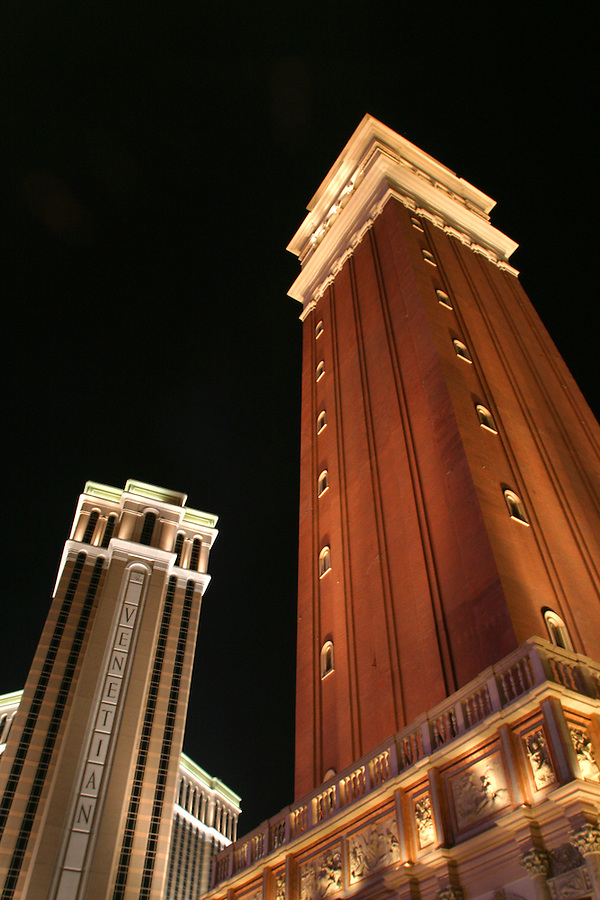 The Venetian Resort Hotel Casino and replica of Saint Mark's Square bell tower, Las Vegas, Clark County, NV