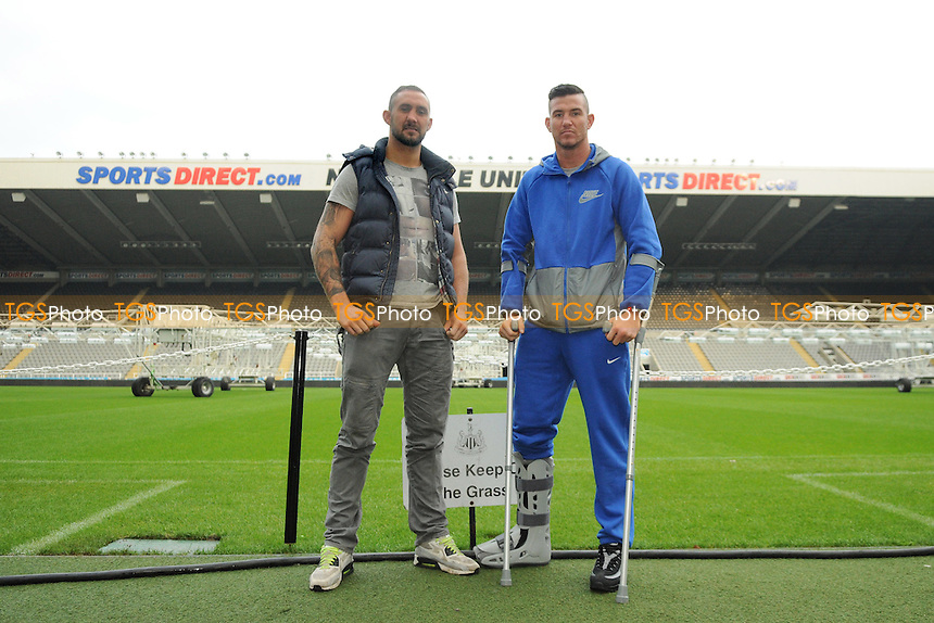 Jon-Lewis Dickinson (L) and Travis Dickinson at St James' Park after the Bradley Saunders Press Conference - Matchroom Boxing Press Conference at St James' Park, Newcastle United FC - 10/11/14 - MANDATORY CREDIT: Steven White/TGSPHOTO - Self billing applies where appropriate - contact@tgsphoto.co.uk - NO UNPAID USE