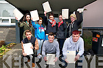 Listowel Community College students who had just completed their first exam on Wednesday. Front : Donie Falvey, Adam O'Rourke & Jack Barrett. Back : Megan O'Malley, Nicole O'Connor, Sorcha Enright, Kayleigh Maxwell & Sabrina Loughnane.