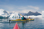 Alaska, Prince William Sound, Sea kayaker, Icebergs, Columbia Bay, Columbia Glacier, USA