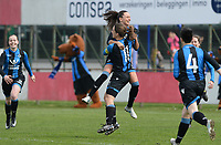 20180414 - AALTER , BELGIUM : Brugge's Barbara Lezy pictured celebrating her goal and Brugge's lead with Kay Cuvelier (left) during the 21st matchday in the 2e Nationale Women's league , a womensoccer game between Club Brugge Dames and GFA Sinaai , in Aalter , saturday 15 th April 2018 . PHOTO SPORTPIX.BE | DAVID CATRY
