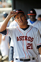 Buies Creek Astros pitcher Franklin Perez (21) in the dugout during a game against the Winston-Salem Dash at Jim Perry Stadium on the campus of Campbell University on April 9, 2017 in Buies Creek, North Carolina. Buies Creek defeated Winston-Salem 2-0. (Robert Gurganus/Four Seam Images)