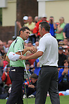 Padraig Harrington shakes hands with rchard green on the 18th green after the final day of the 3 Irish Open, at the Killarney Golf and Fishing Club, Killarney, Ireland.Picture Fran Caffrey/www.golffile.ie.