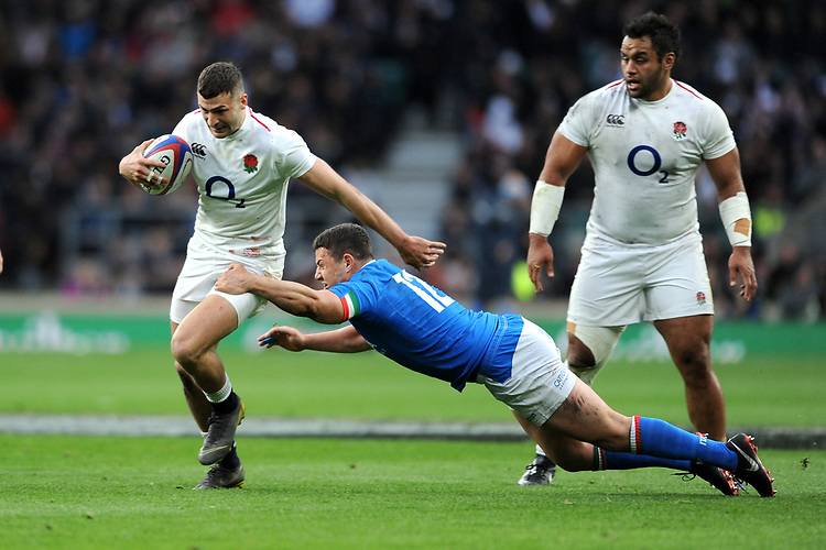 Jonny May of England goes past Luca Morisi of Italy  during the Guinness Six Nations match between England and Italy at Twickenham Stadium on Saturday 9th March 2019 (Photo by Rob Munro/Stewart Communications)