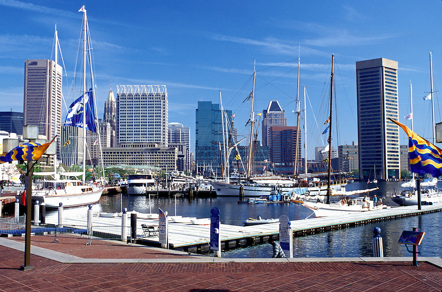 Maryland, Baltimore, Inner Harbor, Skyline of downtown Baltimore.