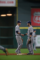 HOUSTON, TX - AUGUST 28:  Matt Duffy #5 of the Tampa Bay Rays shakes hands with teammate Nick Franklin #2 after the game against the Houston Astros at Minute Maid Park on Sunday, August 28, 2016 in Houston, Texas. Photo by Brad Mangin