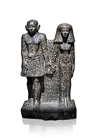 Ancient Egyptian bust of a man and women, serpentine, Middle Kingdom, late 12th-13th Dynasty (1800-1700 BC). Egyptian Museum, Turin. white background,<br /> <br /> An example of Egyptian private statues, probably low ranking officials, inv 1222 &1233