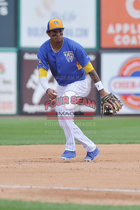 Wisconsin Timber Rattlers third baseman Gilbert Lara (11) fields his position during a game against the Quad Cities River Bandits at Fox Cities Stadium on June 27, 2017 in Appleton, Wisconsin.  Wisconsin lost 6-5.  (Dennis Hubbard/Four Seam Images)