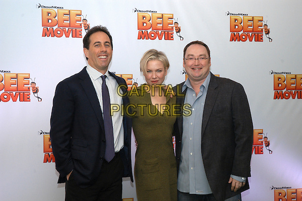 "JERRY SEINFELD, RENEE ZELLWEGER & SIMON J. SMITH.Photocall for ""Bee Movie"", Rome, Italy..December 4th, 2007.half length green sweater dress blue suit jacket grey gray glasses .CAP/CAV.©Luca Cavallari/Capital Pictures."