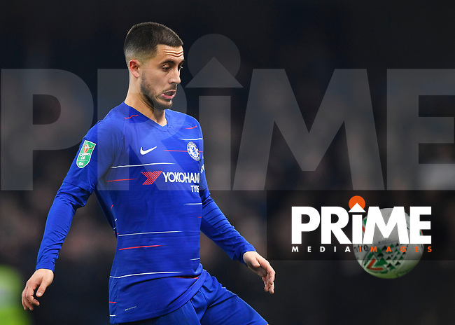 Eden Hazard of Chelsea in action during the Carabao Cup Semi-Final 2nd leg match between Chelsea and Tottenham Hotspur at Stamford Bridge, London, England on 24 January 2019. Photo by Vince  Mignott / PRiME Media Images.