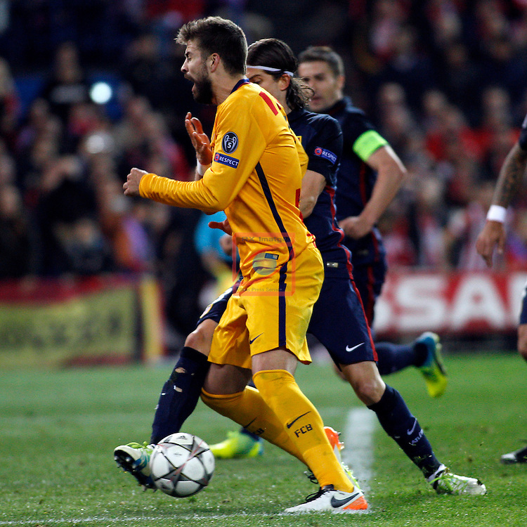 UEFA Champions League 2015-2016.<br /> Quarter-finals Second leg.<br /> Club Atletico de Madrid vs FC Barcelona: 2-0.<br /> Gerard Pique vs Filipe Luis.