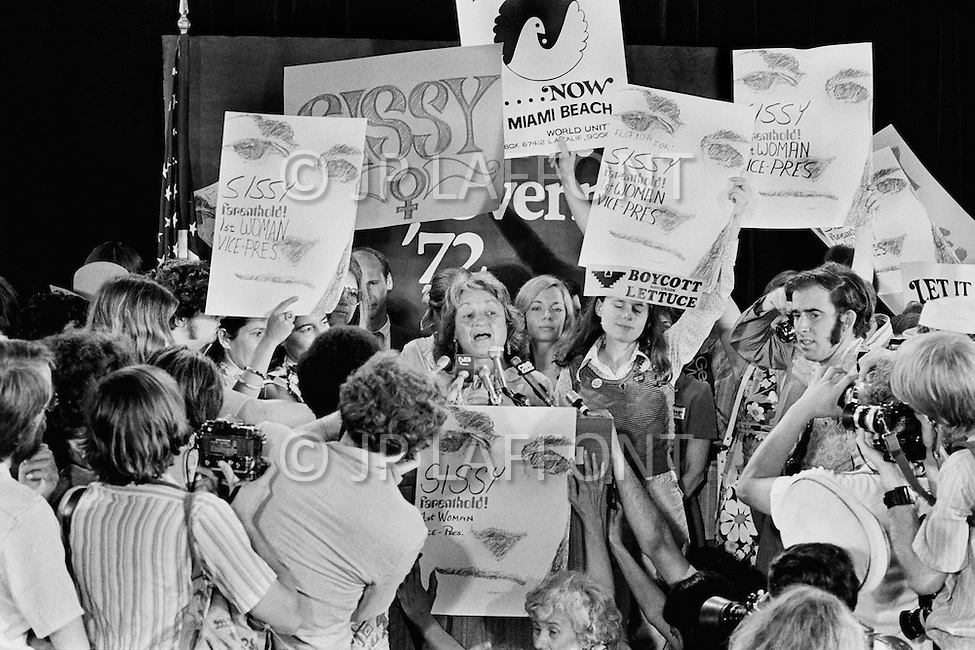 "July 1972, Miami, Florida, USA. The American feminist, social activist and writer, Betty Friedan surrounded by supporters for Frances ""Sissy"" Farenthold, the nominee for Vice Presidential candidate."