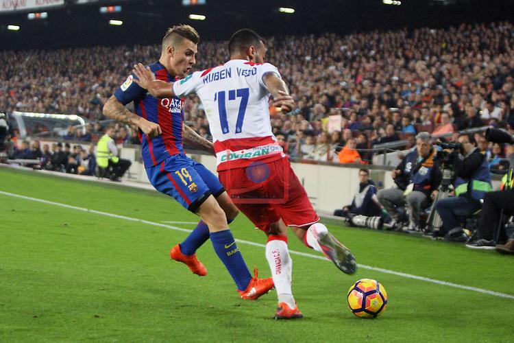 League Santander 2016/2017. Game: 10.<br /> FC Barcelona vs Granada CF: 1-0.<br /> Lucas Digne vs Ruben Vezo.