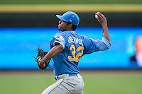 Myrtle Beach Pelicans starting pitcher Duane Underwood Jr. (32) delivers a pitch to the plate against the Winston-Salem Dash in game one of the Carolina League Southern Division Championship series at BB&T Ballpark on September 9, 2015 in Winston-Salem, North Carolina.  (Brian Westerholt/Four Seam Images)