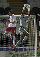Jordan Archer climbs for the ball in the Scotland v Luxembourg UEFA Under 21 international qualifying match at St Mirren Park, Paisley on 6.9.12.