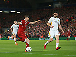 James Milner of Liverpool has a shot on goal during the Champions League Semi Final 1st Leg match at Anfield Stadium, Liverpool. Picture date: 24th April 2018. Picture credit should read: Simon Bellis/Sportimage