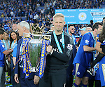 Leicester's Kasper Schmeichel celebrates with the trophy during the Barclays Premier League match at the King Power Stadium.  Photo credit should read: David Klein/Sportimage