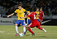 ATENÇÃO EDITOR: FOTO EMBARGADA PARA VEÍCULOS INTERNACIONAIS - RECIFE,PE,10 SETEMBRO 2012 - AMISTOSO SELEÇÃO BRASILEIRA - BRASIL X CHINA Oscar  jogador do Brasil duarnte partida Brasil x China no Estádio José do Rego Maciel  (Arruda) em Recife na noite desta segunda feira (10).(FOTO ALE VIANNA - BRAZIL PHOTO PRESS).