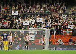 Radical nationalist Basques carrying banners in support of prisoners of the terrorist organization ETA during Europa League match.October 20,2011. (ALTERPHOTOS/Acero)