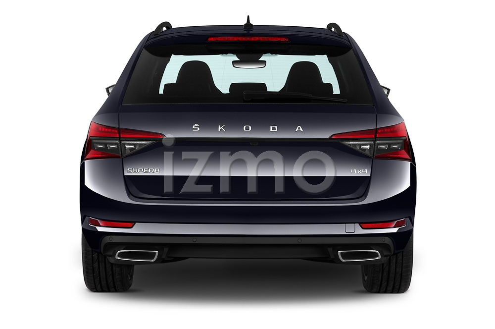Straight rear view of 2020 Skoda Superb-Combi Sportline-4wd 5 Door Wagon Rear View  stock images